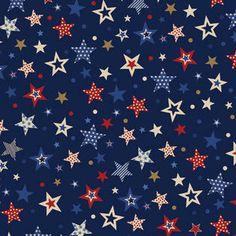America Mixed Stars Fabric