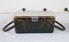 1950s Vintage Plastic Box Purse Brown & by MyVintageHatShop