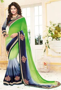 #Blue #Georgette #Designer  #Saree