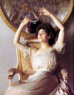 William McGregor Paxton The String of Pearls 1908  Me literally every morning.