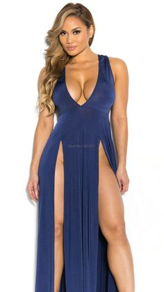 85288b39635 Summer 2017 Sexy deep V-neck Women Dress plunging neckline Big Girl female  bodycon front Slit Split maxi Charming Dresses