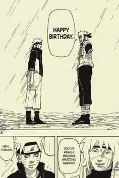 """Naruto challenge Day 27: Scene that made me cry: When I was watching Naruto I cried a lot of times so I can't pick just one. I was crying while Minato and Kushina death, when Naruto and Sasuke ended their fight and Sasuke said that he lost,when Naruto gave back his headband, when whole manga ended... But here I want to distinguish the scene when Minato said """"happy birthday"""" to Naruto... OMG I was crying so much! He never had a chance to hear that from his parents!"""