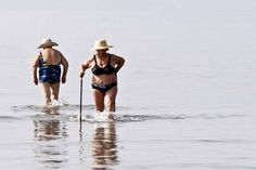 """Two old women, meeting on the shallow sea off Nafplio, towards Nea Kios to have an early morning """"swim"""" and a bit of wet socializing. Beach Photography Friends, Beach Photography Poses, Fat Women, Sexy Women, Old Lady Humor, Old Folks, Beach Pictures, Beach Pics, Summer Pictures"""