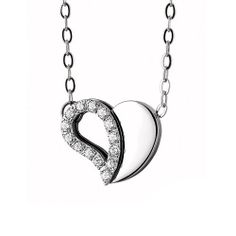 Royal Damon Heart Pendant and Necklace with Cubic Zirconia at Aquamarine Jewelry www.aqj.ca