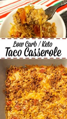 Here's a low carb / keto taco casserole. This is so easy to make that it's a mus… Here's a low carb / keto taco casserole. This is so easy to make that it's a must for Taco Tuesday and any other day that needs a taco, which, let's be honest, is every day. Low Carb Tacos, Low Carb Diet, Low Carb Enchiladas, Low Carb Bake, Low Carb Dinner Recipes, Diet Recipes, Cooking Recipes, Healthy Recipes, Low Carb Hamburger Recipes