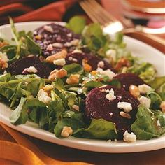Beet Salad with Orange Vinaigrette Recipe -Here's a lovely salad to celebrate the changing seasons. The flavors of fresh roasted beets, sweet citrus, rich cheese and tangy vinaigrette were meant for each other. —Mary S. Moskovitz, Ventnor, New Jersey
