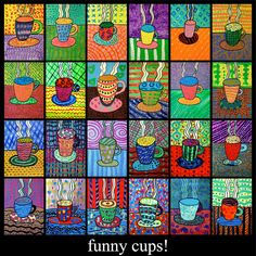 CONTINUITY IN COLOR--------------elementary art lesson grade coffee cups tempera paint pattern color. Would love to find this template to make a piece of art for my kitchen!Art lessons for children that will teach them how exactly to draw, craft and Winter Art Projects, School Art Projects, Group Art Projects, Winter Project, Art 2nd Grade, Arte Elemental, Square 1 Art, Pop Art, Classe D'art