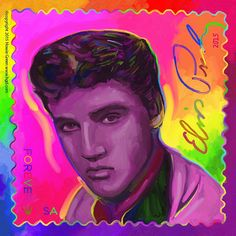 Elvis Presley Stamp CD album cover Pop Art painting by Howie Green.  See over 350 of Howie's album cover paintings at www.hgd.com