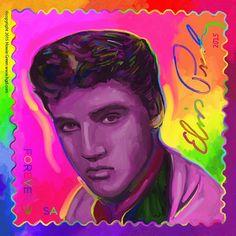 Elvis Presley Stamp CD album cover Pop Art painting | by Howie Green