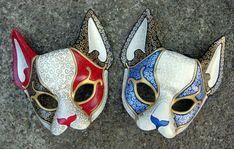 Venetian Cat Masks by merimask.deviantart.com Venetian Masquerade, Venetian Masks, Masquerade Ball, Halloween Masquerade, Burlesque Costumes, Party Costumes, Diy Costumes, Wolf Mask, Mask Painting
