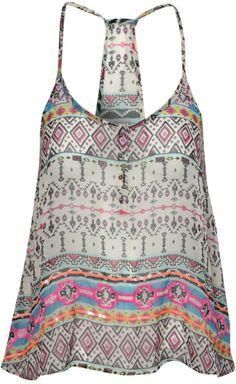 Jane Norman Multicolor Neon Tribal Print Cami Top