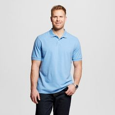 Men's Big & Tall Pique Polo Shirt Light Blue M Tall - Merona, Size: M T