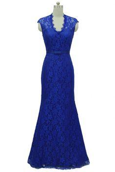 Qpid Showgirl Blue lace v neckline long evening dress bridesmaid dress