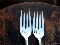 Mr & Mrs  CUSTOM Bridal Forks for Your Wedding by SycamoreHill, $44.00