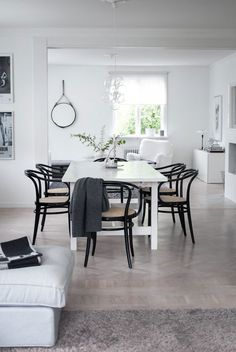Black bentwood chairs around white dining table via House of Philia Decor, Interior, Adirondack Chairs For Sale, Home Decor, House Interior, House Of Philia, Dining Room Inspiration, Scandinavian Dining Room, Home And Living