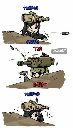 This si what happens when you put a tank against a post-war tank. Why Gaijin Cute Comics, Funny Comics, Dc Comics, Military Jokes, Anime Military, Gamer Humor, Gaming Memes, Funny Tanks, Short Comics