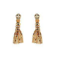 PARADISE COLLECTION / Sunset Swarovski crystal small single tassel drop earrings. Resort 2013