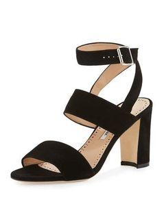 MANOLO BLAHNIK Khanstrap Suede Chunky-Heel Sandal. #manoloblahnik #shoes #sandals