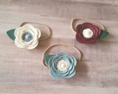Items similar to Felt Flower Headband - Felt Flower - Felt Flower Garland Headband -Felt Flower Crown - Newborn Headband - Toddler Headband -Photo Prop on Etsy