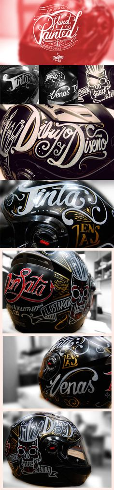 Original Hand Painted Motorcycle helmet, with illustrations and some lettering on it. Motorcycle Equipment, Motorcycle Tank, Moto Bike, Motorcycle Helmets, Vespa 125, Arte Sharpie, Moto Fest, Pinstripe Art, Vintage Helmet
