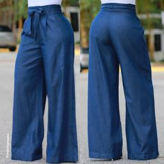pair with the sripped top Denim Fashion, Fashion Pants, Fashion Outfits, Pallazo Pants, Palazzo Trousers, Discount Clothing, African Wear, Stylish Outfits, Pants For Women