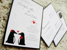 Penguin Wedding Invitations  Since our high school mascot was a penguin - and since we met, dated and graduated together, PERFECT!