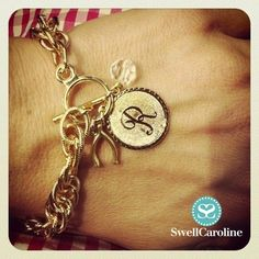 The Nantucket Bracelet - pictured with a Small Dalton charm, a Wishbone Charm, and Crystal Charm. Get the look at SwellCaroline.com!