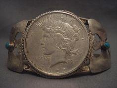 Monumental Vintage Navajo 20's Coin Silver Turquoise Bracelet | eBay