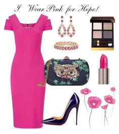 """""""Pretty in Pink 🎀"""" by arta13 on Polyvore featuring Roland Mouret, Gucci, Effy Jewelry, Bavna, Christian Louboutin, Urban Decay, Tom Ford and IWearPinkFor"""