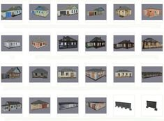 Lots of Building Paper Models for Diorama Free Templates Download