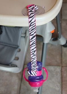 Pink & Zebra Sippy Strap with Suction Cup by ChunksBabyJunk, $9.00