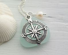 Scottish Sea Glass and Compass Necklace - TRAVELLER £22.50