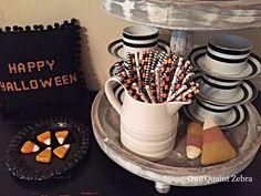 Candy Corn Black & White Halloween Vignette
