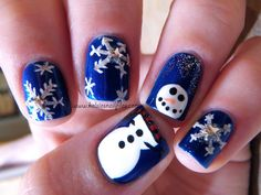 Kelsie's Nail Files: Inspiration from The Nailasaurus #christmasnails #snowman #nailart