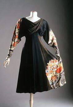 Dress Elizabeth Hawes  (American, 1903–1971) Date: ca. 1935 fashion style dress black novelty print orange asian 30s designer couture photo print ad museum color