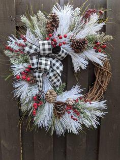 Easter Wreaths, Holiday Wreaths, Christmas Decorations, Holiday Decor, Plaid Decor, Country Wreaths, Berry Wreath, Burlap Ribbon, Buffalo Plaid