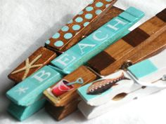 Hand painted magnetic beach clothespins