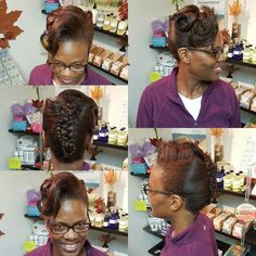Natural Hair, pressed and put in a Up Do. This guest also has Color Spectrum's Paul Mitchell The Color. Body and Soul Salon and Spa