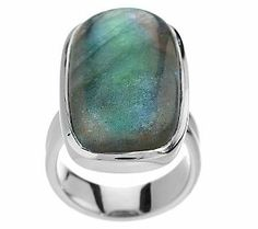 Bold Elongated Cushion Cut Labradorite Sterling Ring