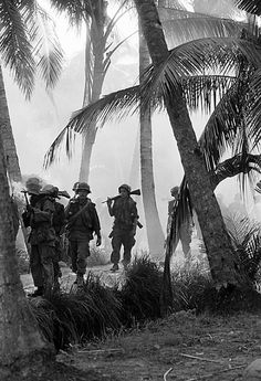 A U.S. patrol of the 2nd Brigade, 9th Infantry Division, moves through the morning mist in the coconut groves of Kien Hoa province, in South Vietnam's Mekong Delta, Jan. 15, 1969. They were part of an operation to assess damage from a B-52 strike on Viet Cong strongholds in the province. (AP Photo/Henri Huet) ~ Vietnam War