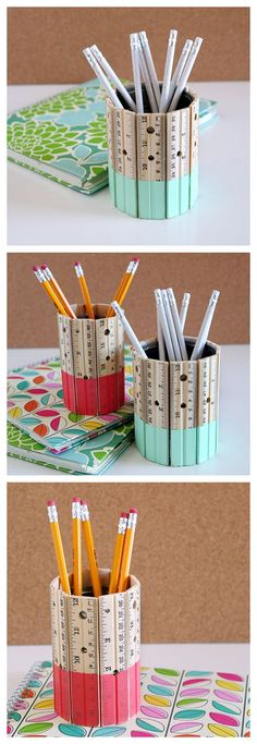 The best DIY projects & DIY ideas and tutorials: sewing, paper craft, DIY. Best Diy Crafts Ideas For Your Home DIY Ruler Pencil Holder -Read Crafts To Sell, Fun Crafts, Diy And Crafts, Crafts For Kids, Sell Diy, Kids Diy, Decor Crafts, Teacher Appreciation Week, Teacher Gifts
