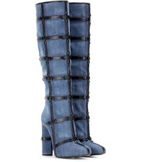 Tom Ford Patchwork Denim and Leather Knee Boots ($1,400) ❤ liked on Polyvore featuring shoes, boots, heels, blue, black leather boots, knee boots, black leather knee high boots, black knee boots and leather knee boots
