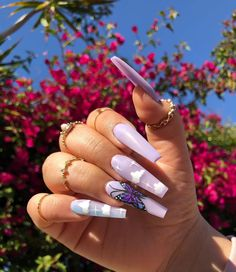cute trendy long lavender coffin butterfly and coffin acrylic nails Purple Acrylic Nails, Acrylic Nails Coffin Short, Summer Acrylic Nails, Best Acrylic Nails, Purple Nails, Blush Nails, Coffin Nails, Acylic Nails, Cute Acrylic Nail Designs