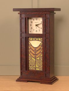 Prairie Style Tile Clock with Craftsman Oak Finish and 4x8 tile by Schlabaugh… Woodworking With Resin, Woodworking Basics, Custom Woodworking, Woodworking Plans, Woodworking Classes, Woodworking Videos, Craftsman Clocks, Craftsman Decor, Craftsman Furniture