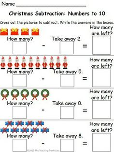 Worksheets Christmas Subtraction Problems colors black and worksheets on pinterest 18 christmas themed addition subtraction sumsnumbers to 10 adding and