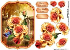 Garden Roses Shaped Topper on Craftsuprint designed by Mary MacBean - Shaped card topper with decoupage featuring beautiful coloured roses on a pretty background. There are Happy Birthday and Get Well soon sentiments or a blank tag for your own greeting.  - Now available for download!