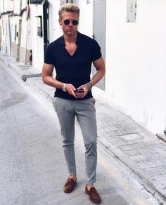 Mens Fashion Casual – The World of Mens Fashion Summer Fashion Outfits, Casual Outfits, Stylish Men, Men Casual, Men Business Casual, Casual Chic, Mode Bcbg, David Beckham Style, Polo Shirt Outfits