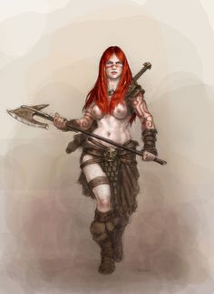 fuckyeahwarriorwomen:  [ Description: A colour image of a barbarian woman with pale skin decorated with tattoos that match her long red hair. She wears only a pair of leather boots, armoured loincloth, a pair of bracers and a shoulder guard. She strides towards the viewer, a sword strapped on her back and a large axe in her hands. ]  Barbarian girl by Nordheimer