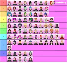 Create a Yandere Simulator Characters Tier List - Tier Maker Yandere Simulator Characters, Yandere Simulator Memes, Mystic Messenger, Mai Waifu, Animes Yandere, Grid Layouts, Otaku Anime, Colorful Backgrounds, Shopkins