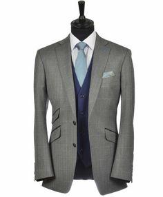 Grey Herringbone Tweed Slim Cut Belmont Lounge Suit with Contrast French Navy Waistcoat